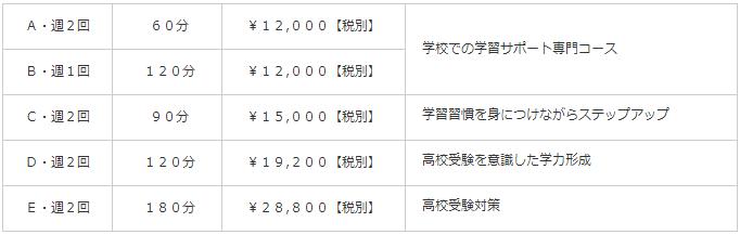 中学生コース料金表【個別指導塾Ace】